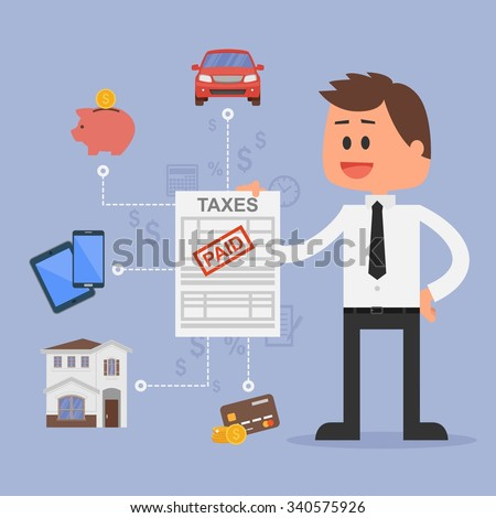 Cartoon illustration for financial management and taxes concept. Happy businessman paid all taxes. Car, house, tax, savings and credit cards icons. Flat design. - stock photo