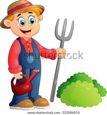 Cartoon illustration of a farmer - stock photo