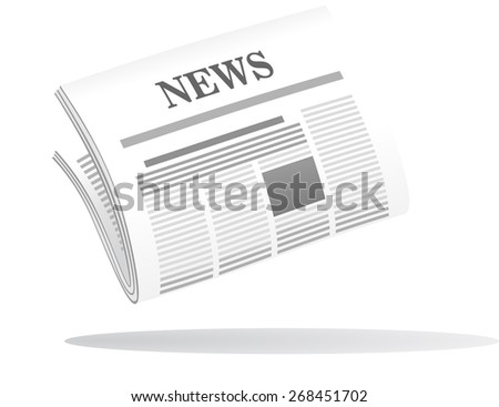 Cartoon illustration of a folded newspaper with the header News in grey and white with a shadow below - stock photo