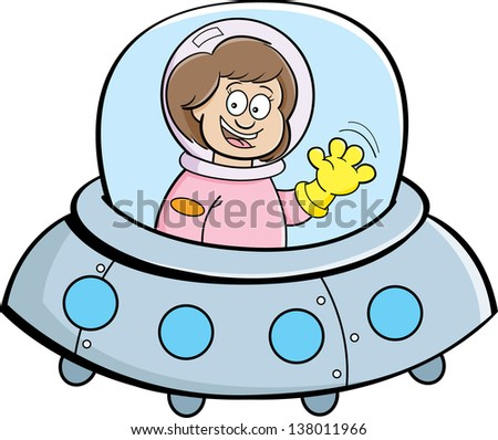 Cartoon illustration of a girl in a spaceship. - stock photo