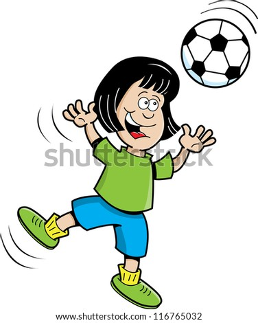 Cartoon illustration of a girl playing soccer
