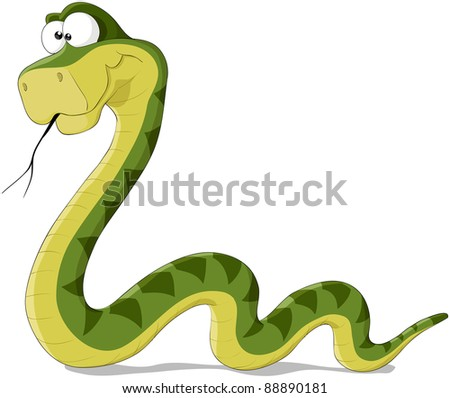 Cartoon illustration of a green snake, raster
