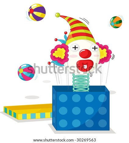 cartoon illustration of a jack in the box - stock photo