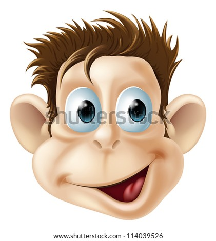 Cartoon illustration of a laughing happy monkey face - stock photo