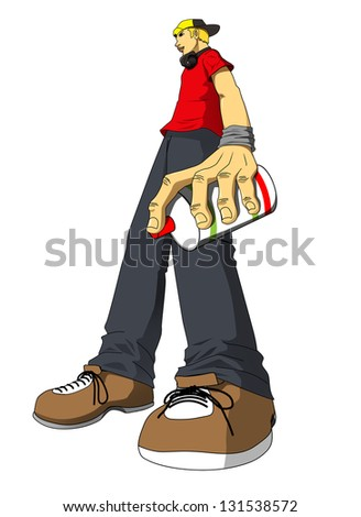 Cartoon illustration of a male figure holding a spray can - stock photo