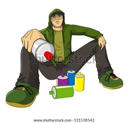 Cartoon illustration of a male figure with spray cans - stock photo