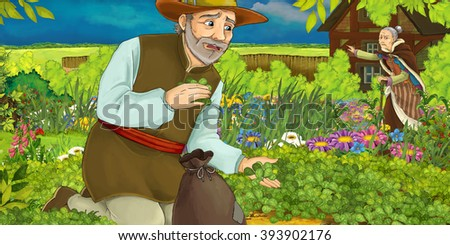 Cartoon illustration of a man gathering herbs in the garden - with an old woman in the background - illustration for children - stock photo