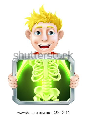 Cartoon illustration of a man holding up a screen x-raying him with his skeleton showing. - stock photo