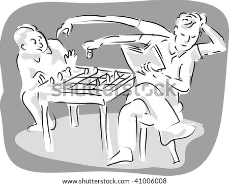 cartoon illustration of a man with 4 arms playing chess with a man with two arms. - stock photo