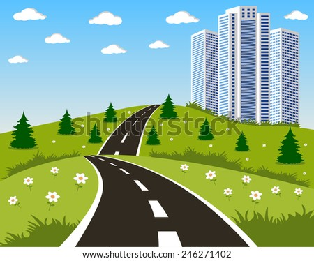 Cartoon illustration of a road to a city - stock photo