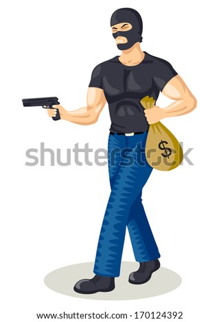 Cartoon illustration of a robber holding a gun and a bag of money - stock photo