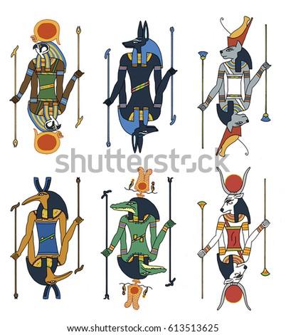 Cartoon illustration set ancient egyptian gods stock illustration cartoon illustration of a set of ancient egyptian gods including horus the hawk publicscrutiny Image collections