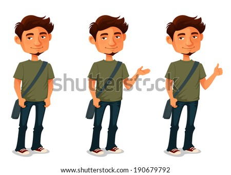 cartoon illustration of a young man in various poses - stock photo