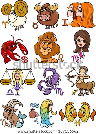 Cartoon Illustration of All Horoscope Zodiac Signs Set - stock photo