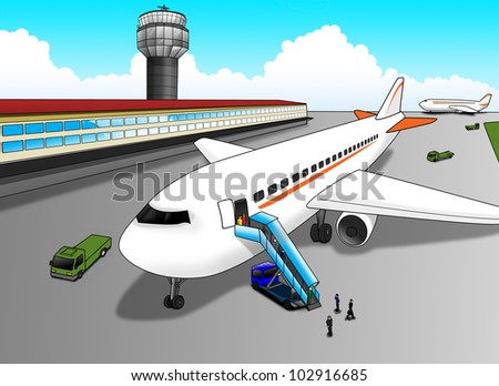 cartoon illustration airport stock illustration 102916685 shutterstock rh shutterstock com Airplane Silhouette Cartoon Bus
