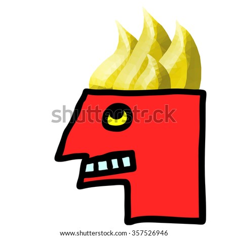 Cartoon illustration of an angry red face man with a burning brain for the concept of an angry man. - stock photo