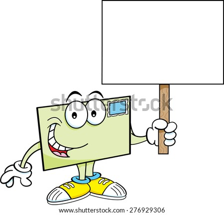 Cartoon illustration of an envelope holding a sign.