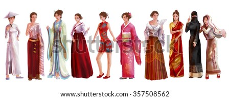 Cartoon illustration of Asian female woman traditional, religion, and national costume dress clothing fashion clothes set represent each country art and culture in friendly and world peace concept - stock photo