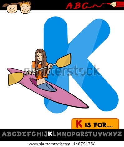 Cartoon Illustration of Capital Letter K from Alphabet with Kayak for Children Education - stock photo
