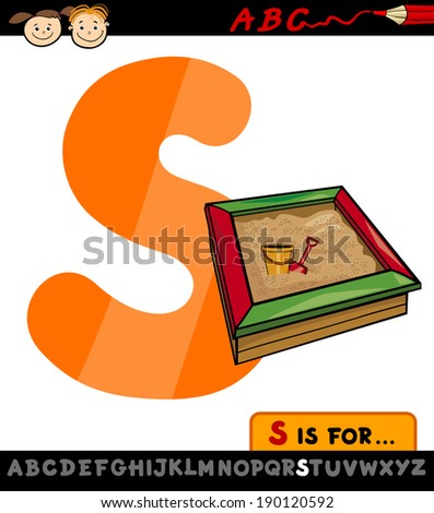 Cartoon Illustration of Capital Letter S from Alphabet with Sandbox for Children Education