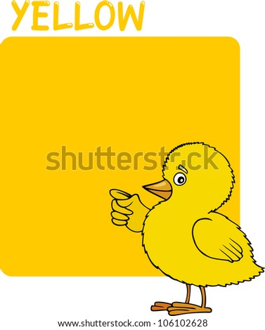 Cartoon Illustration of Color Yellow and Chick