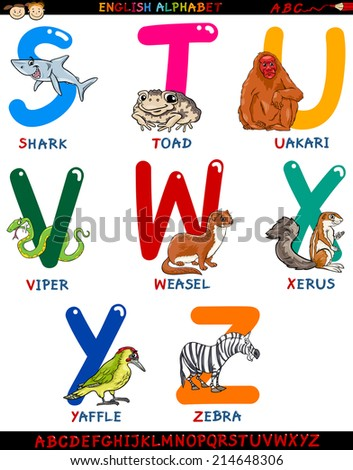 Cartoon Illustration of Colorful English Alphabet Set with Funny Animals from Letter S to Z - stock photo