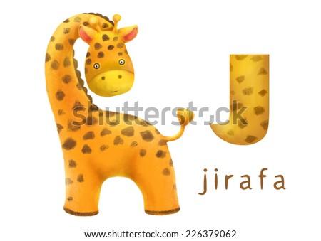 Cartoon Illustration of Colorful Spanish Alphabet or Alfabeto Espanol. Isolated on white. Letter J, jirafa, giraffe - stock photo