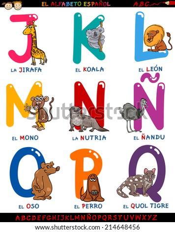 Cartoon Illustration of Colorful Spanish Alphabet or Alfabeto Espanol Set with Funny Animals from Letter J to Q - stock photo