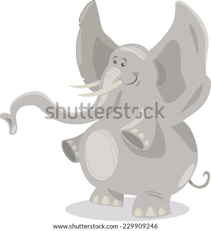 Cartoon Illustration of Cute African Elephant Animal - stock photo