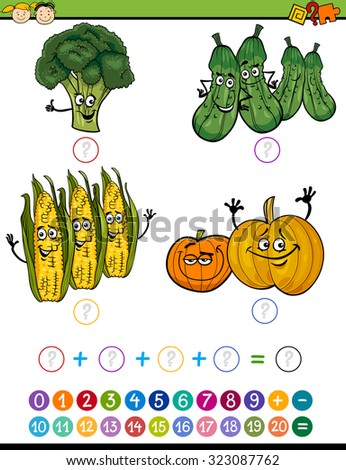 Cartoon Illustration of Education Mathematical Addition Game for Preschool Children with Funny Vegetables - stock photo