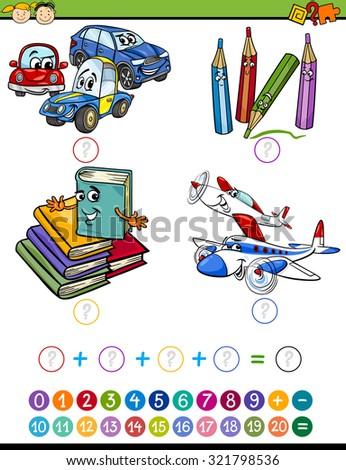 Cartoon Illustration of Education Mathematical Addition Task for Preschool Children - stock photo
