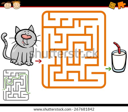 Cartoon Illustration of Education Maze or Labyrinth Game for Preschool Children with Cute Cat and Glass of Milk - stock photo