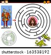 Cartoon Illustration of Education Maze or Labyrinth Game for Preschool Children with Funny Brave Knight and Beautiful Princess - stock vector