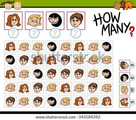 Cartoon Illustration of Educational Counting Task for Preschool Children with Kids Faces