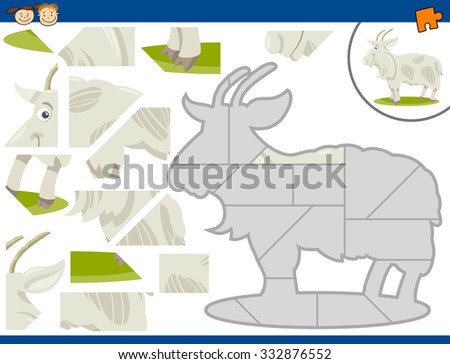 Cartoon Illustration of Educational Jigsaw Puzzle Task for Preschool Children with Farm Goat Animal Character