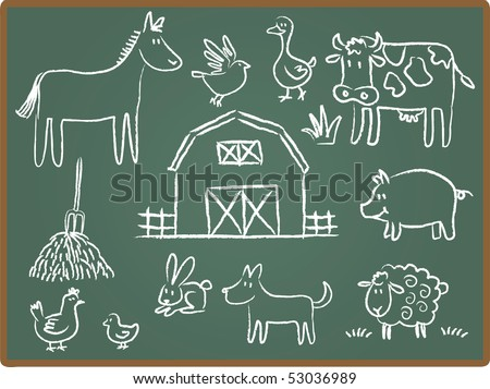 Cartoon Illustration of farm animal on Chalkboard - stock photo