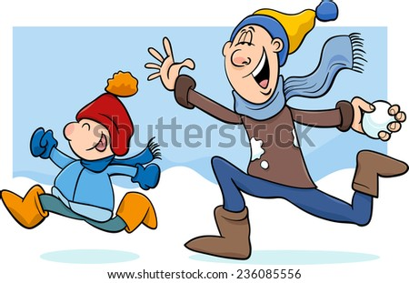 Cartoon Illustration of Father and Little Son Throwing Snowballs and Having Fun on Winter Time  - stock photo