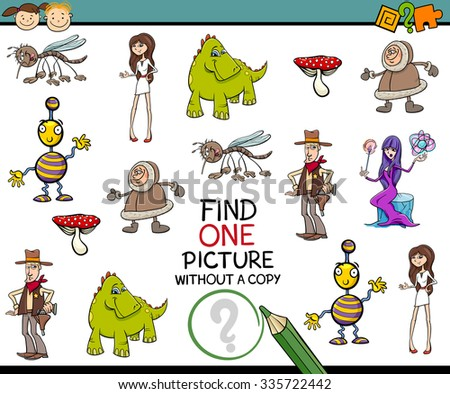 Cartoon Illustration of Finding Single Picture Educational Task for Preschool Children