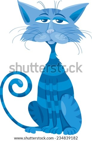 Cartoon Illustration of Funny Blue Cat Character