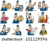 cartoon illustration of funny businessmen collection set - stock photo