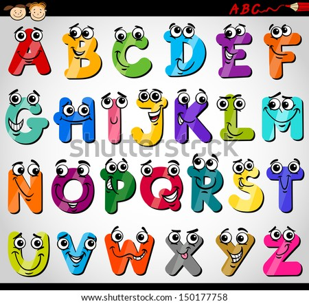 cartoon illustration of funny capital letters alphabet for children education - Alphabet Pictures For Kids