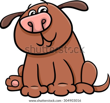 Cartoon Illustration of Funny Dog or Puppy