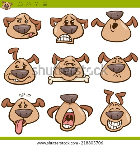 Cartoon Illustration of Funny Dogs Expressing Emotions or Emoticons Set - stock photo