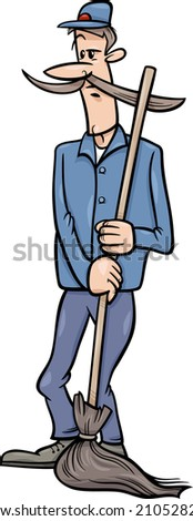 Cartoon illustration of Funny Janitor Man with Broom or Caretaker