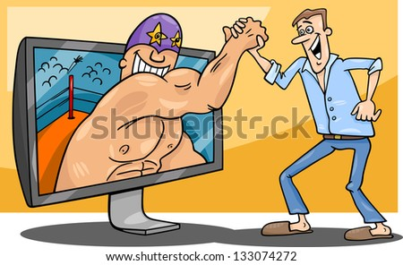 Cartoon Illustration of Funny Man with Wrestler for tv or Watching Interactive Digital Television or Playing Video Game