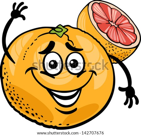 Cartoon Illustration of Funny Red Grapefruit Fruit Food Comic Character