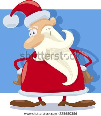 Cartoon Illustration of Funny Santa Claus