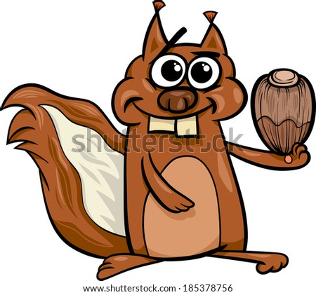 Cartoon Illustration of Funny Squirrel Rodent Animal Character with Hazelnut - stock photo