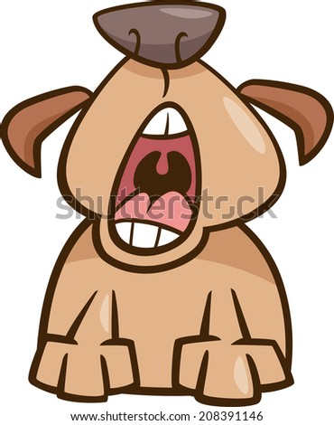 Cartoon Illustration of Funny Yawning Sleepy Dog