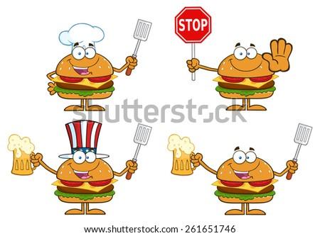 Cartoon Illustration Of Hamburger Characters 4. Raster Collection Set Isolated On White - stock photo